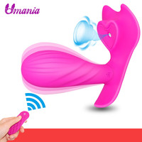 Wearable Butterfly Dildo Vibrator Sex Toys for Women Vibrating Panties Clitoris Stimulator with Sucking Function Wireless Remote