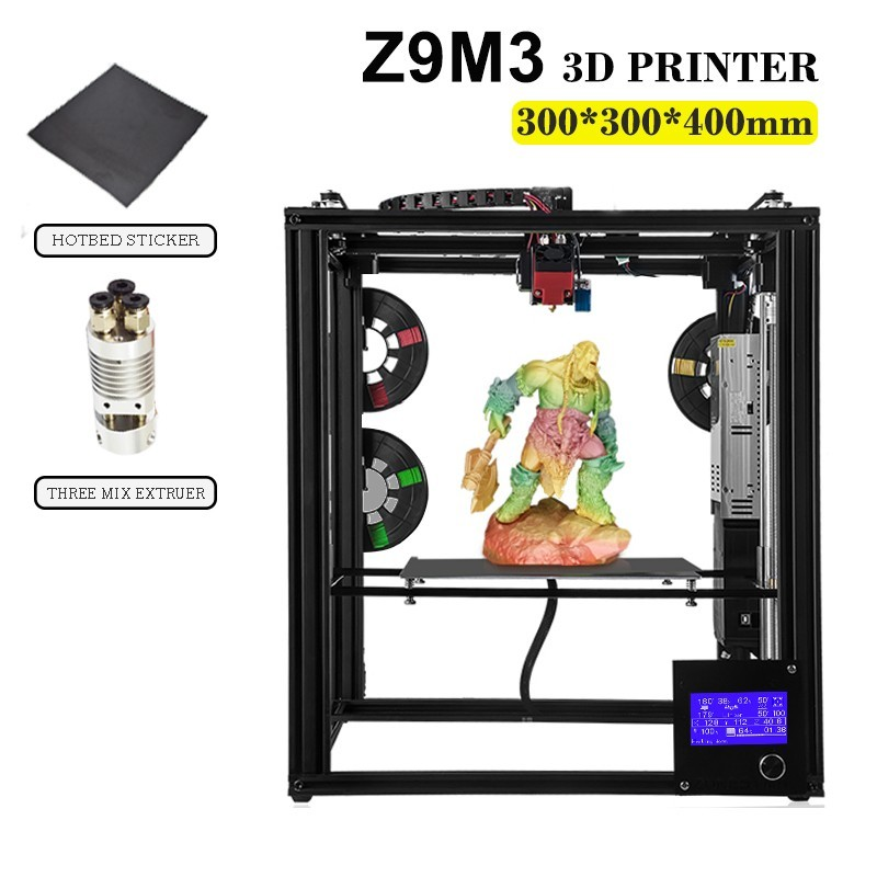 ZONESTAR металлический большой размеры алюминий рамки 3d принтеры Impressora DIY Kit Dule экструдер смешивания Цвет авто уровень лазерной гравировки