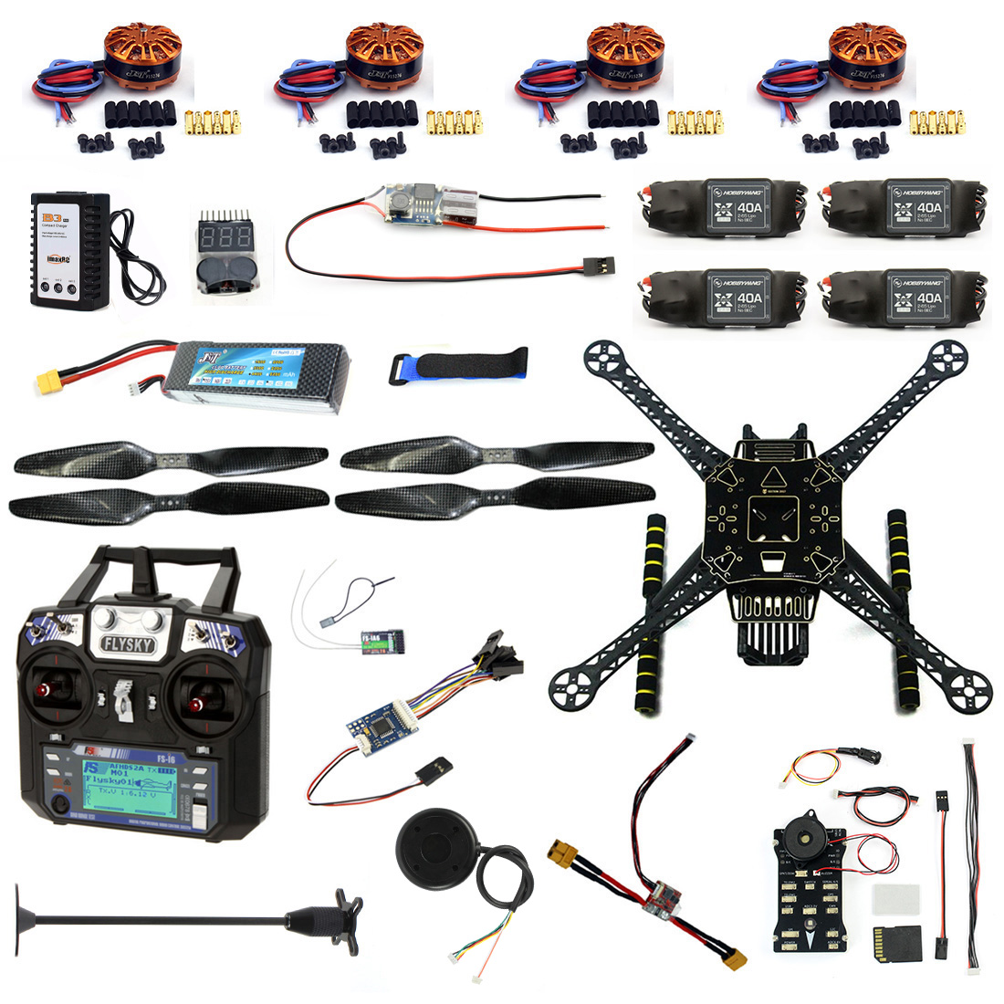 DIY RC Drone Full Kit 4 Axle S600 Frame PIX 2.4.8 Flight Control Buzzer Alarm FS i6 Transmitter Motor GPS with Battery Charger