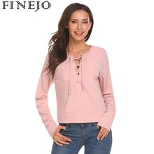 купить FINEJO Women Autumn Spring T Shirts Casual Crossing Straps Long Sleeve Pullover Solid Color T-shirt Female Tee Tops дешево