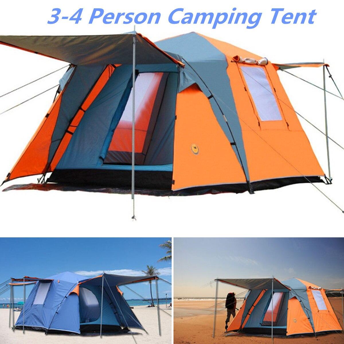 Grand 3-4 personnes automatique Pop up tente Portable étanche Camping pêche plage auvent couverture abri extérieur voyage accessoires