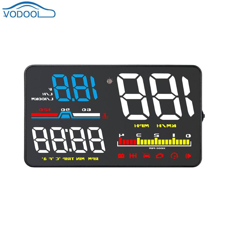 5 Inch Color Screen Car HUD Head Up Display OBD2 OBDII Windshield Overspeed Warning System Electronic