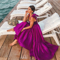 Long Purple Elegant Dress Women for Wedding Party Solid Sleeveless Ruffle Maxi Beach Boho Dress Backless Sexy Satin Dress Ladies