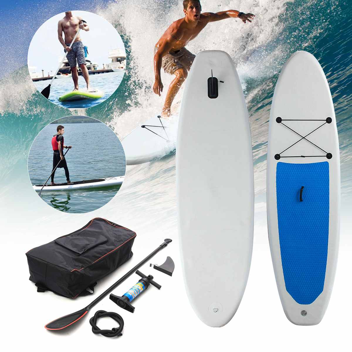acd9254e7 Gofun 310 68.5 10 cm Prancha de Stand Up Paddle Board SUP Inflável Set W  ave Piloto + Bomba prancha inflável barco de remo