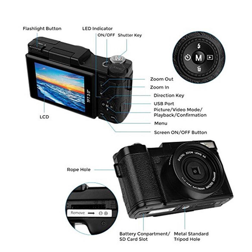 LCD appareil photo numérique Full HD 1080 P Professionnel Vidéo Caméscope Vlogging Caméra