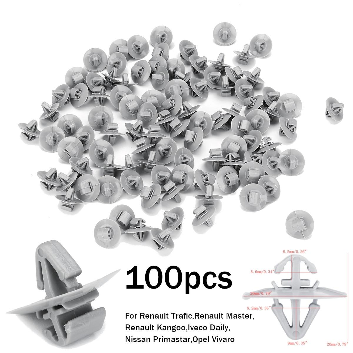 10x Clips pour Nissan Primastar Lower Moulage Protection Garniture Porte gris en plastique