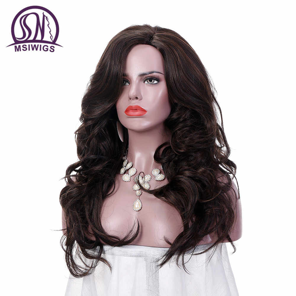 MSIWIGS 24 Inches Long Wavy Wigs for Women Dark Brown Ombre Synthetic Wig with Free Hairnet Hair Heat Resistant