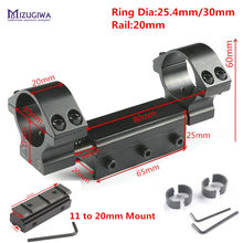 Montaje alcance 30mm 1 pulgadas 25,4mm anillos w/parada Pin cero retroceso Base 11mm a 20mm adaptador picatinny ferroviario indemnización Airgun(China)