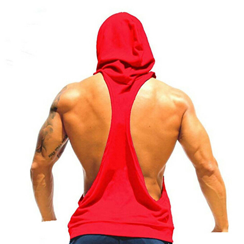 Men's Sport Bodybuilding Superman Sleeveless Hoodie Stringer Vest Gym Wear