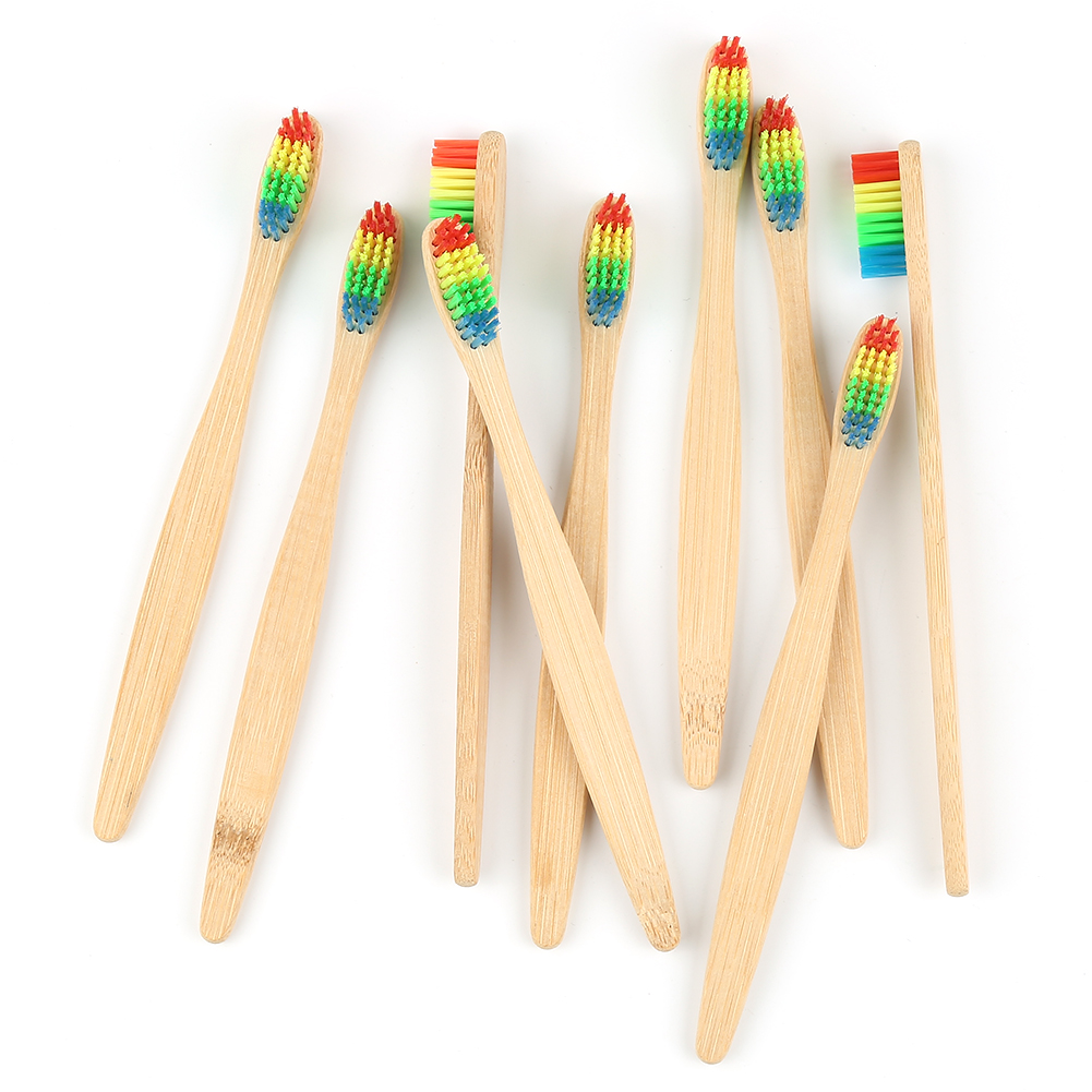 5/3/1 Pcs Eco Friendly Wood Rainbow Toothbrush Oral Care Soft Bristle Bamboo Tooth Brush Low Carbon For Adult With Box