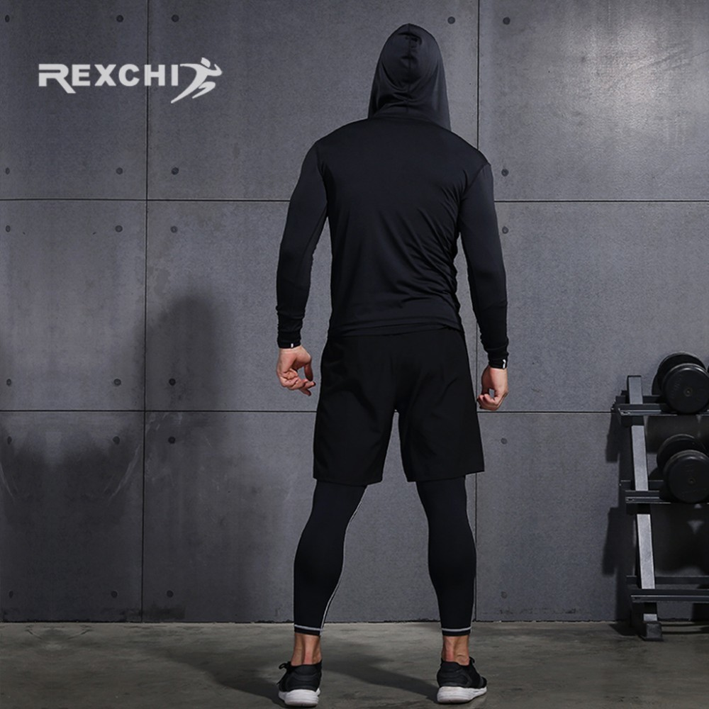 running - REXCHI Men's Tracksuit Compression Sports Suit Gym Fitness Clothes Running Jogging Sport Wear Training Exercise Workout Tights