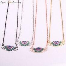 0afc6fa01ba4 5 piezas ZYZ334-6335 Arco Iris CZ Micro Pave colgante de ojo encanto COLLAR  COLGANTE de Zirconia cúbica joyería de las mujeres