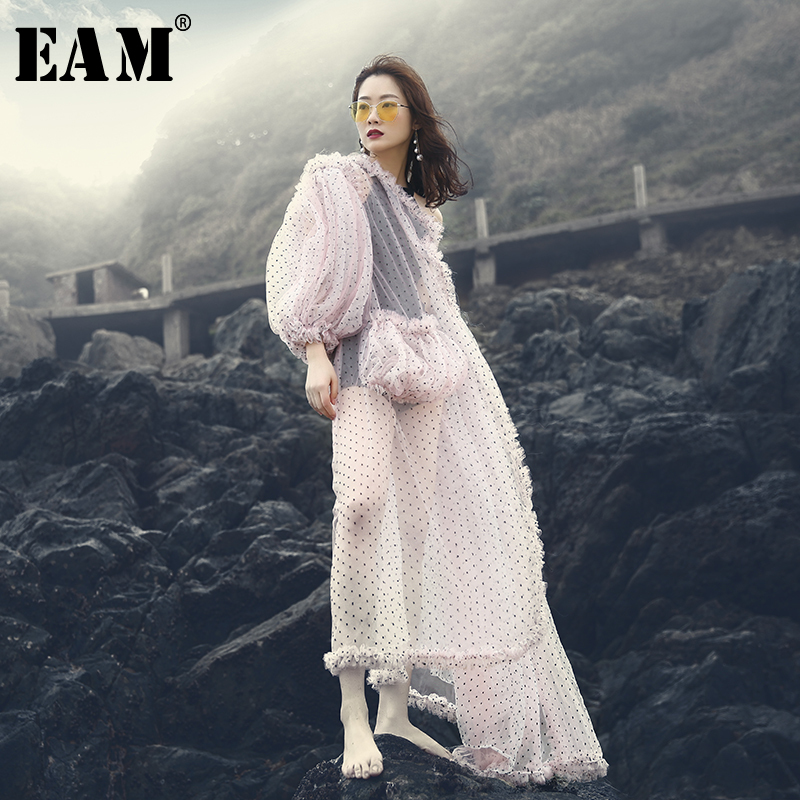 [EAM] 2020 New Spring Summer V-collar Lantern Sleeve Pink Color Dot Printed Perspective Big Size Shirt Women Blouse Fashion JF39