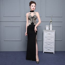 1fecbf507 Female 2019 Black Dress Haute Couture Noble Clothing Sexy Long Party Slim  Fit Temperament Ladies Embroidered