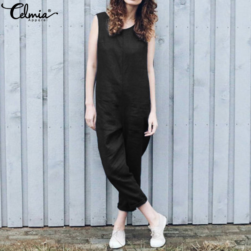 05fcc5db529 Detail Feedback Questions about Celmia Harajuku Linen Rompers 2019 Summer  Beach Women Jumpsuits Casual Sleeveles Harem Pants Loose Playsuits Plus  Size ...