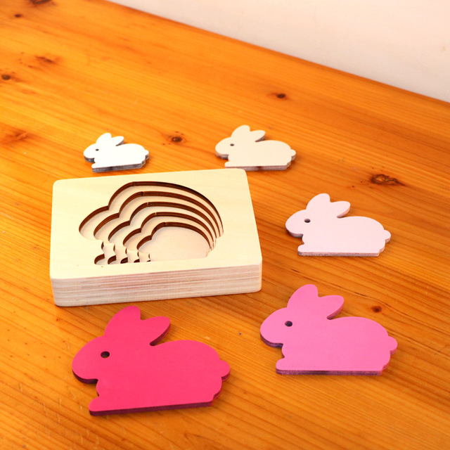 Dropshipping Animal Puzzles For Kids Toys Rabbit/Whale/Elephant Puzzle Enfant Wooden Toys Montessori Educational Gradation Gift 3
