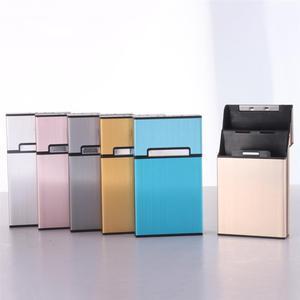 Women Aluminum Slim Cigarette Box Cigar Accessories Case Cigar Tobacco Holder Pocket Box Storage Container Gift Box 6 Colors