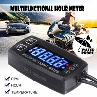 12V Digital LCD Motorcycle Tachometer Engine Multifunction Tach Hour Meter Tachometer Thermometer Temperature Gauge Waterproof
