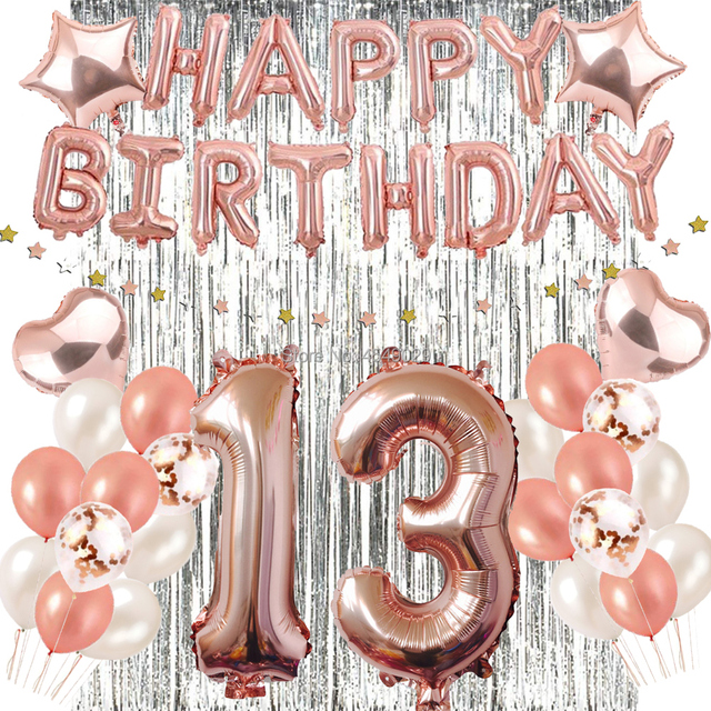 1st 30th 40th 50th 60th Birthday Decorations Party Favor Supplies Rose Gold Confetti Balloons Silver Foil