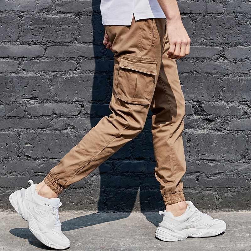 KUEGOU 2019 ฤดูใบไม้ร่วงฝ้ายกองทัพสีเขียวกางเกง Cargo ผู้ชายลำลอง Streetwear Hip Hop Joggers สำหรับยุทธวิธีกางเกงยาว PLUS ขนาด 2918