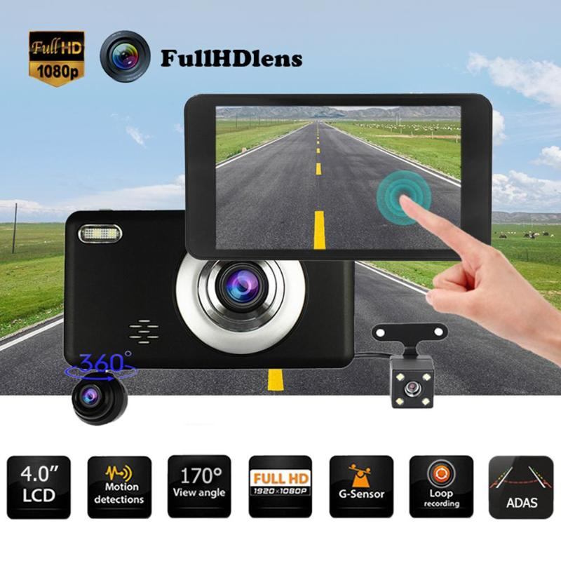 4,0 дюймов ips сенсорный экран FHD 1080P 3 объектив автомобиля dvr камера видео регистраторы ADAS g-сенсор регистраторы GA/1 м/2 м/3 м/5 м/8 м/10 м