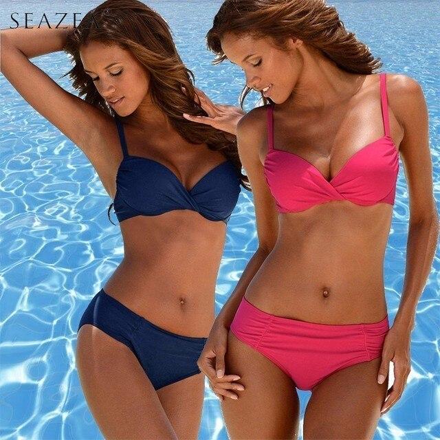 650375ca830 Seazea 2019 New Sexy Women Bikini Set Plus Size Swimsuit Push Up Bathing  Suit Solid Bikinis Beach Wear Female Biquini XXXL