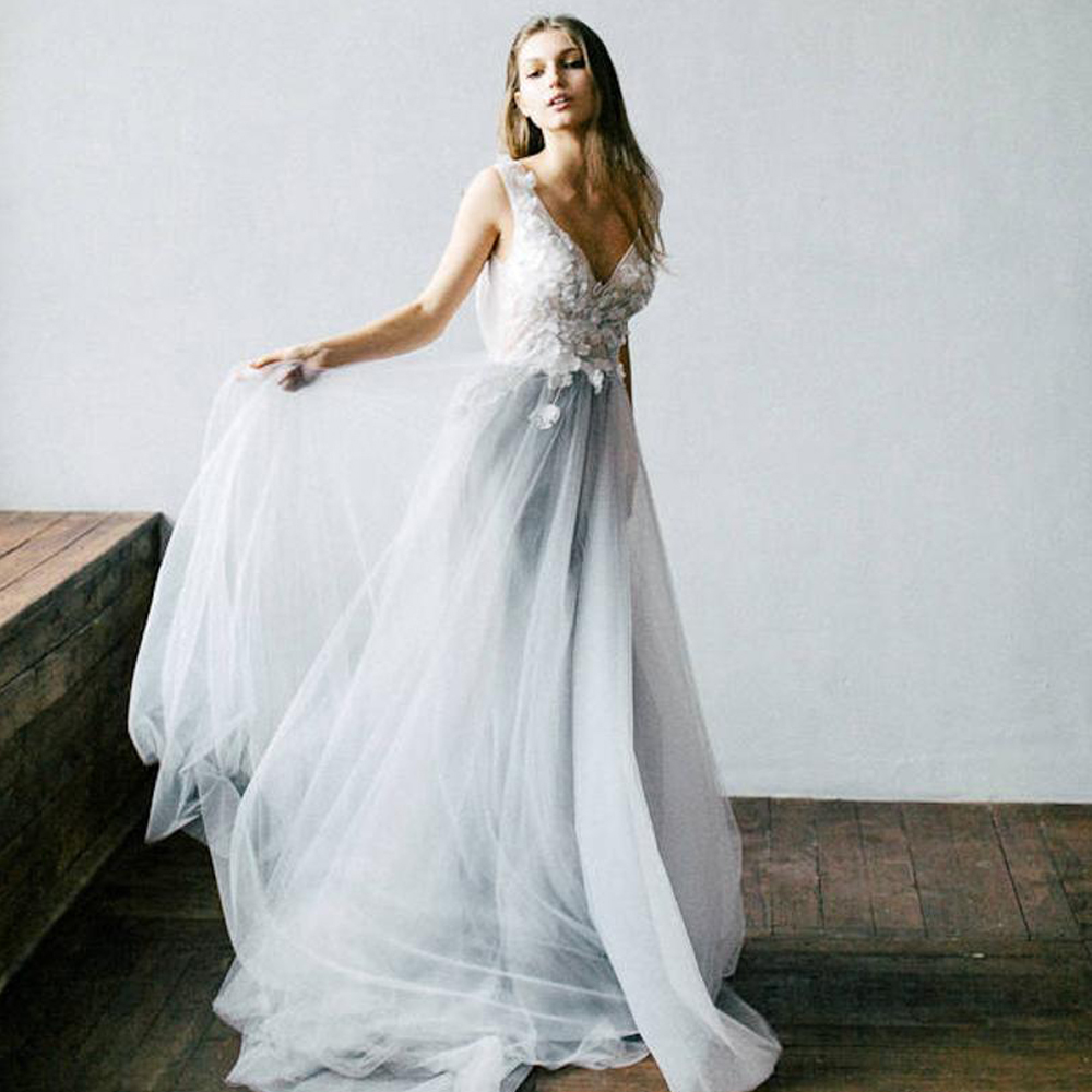 Image 2 - Dusty Blue Floral Wedding Dress With Tulle Skirt V neck Bridal Gown Boho Bohemian Lorie Wedding Gowns Romantic Sleeveless Dress-in Wedding Dresses from Weddings & Events