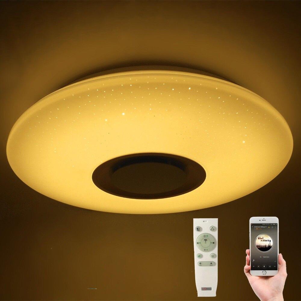 60W RGB Flush Mount รอบ Starlight Music โคมไฟเพดาน LED โคมไฟกับลำโพงบลูทูธ, สีหรี่แสงเปลี่ยนหลอดไฟ