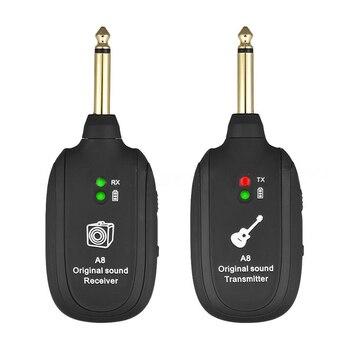 Uhf guitarra sistema transmissor sem fio receptor embutido recarregável transmissor de guitarra sem fio