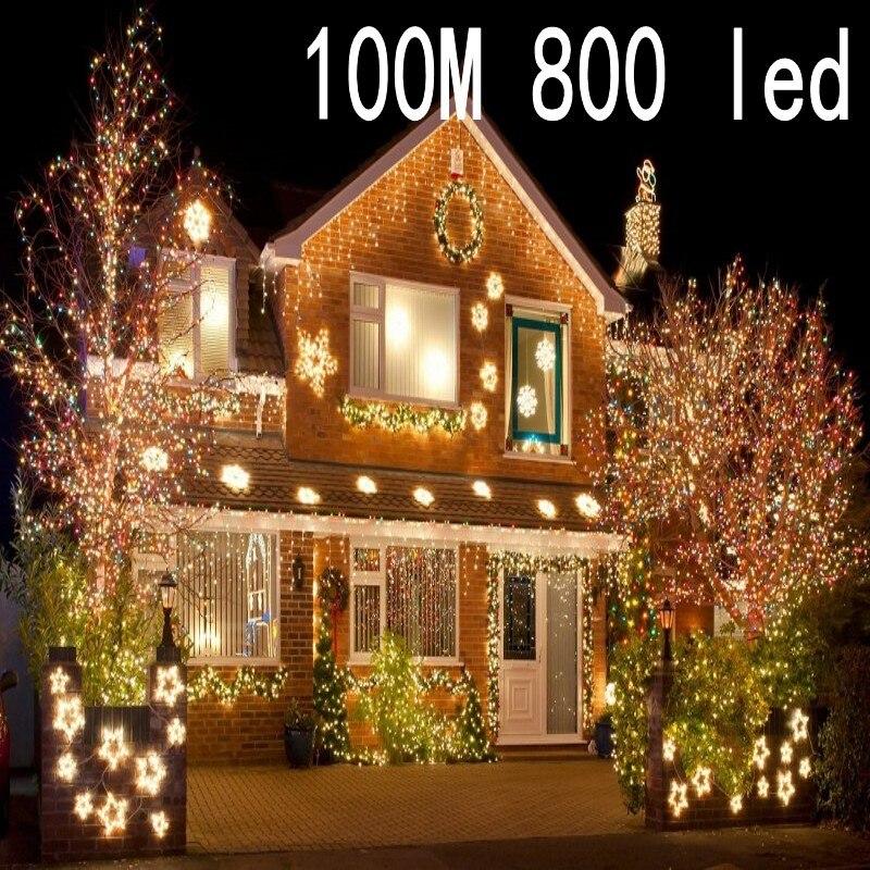 Nouveau 100 mètre 800 LED lumières de noël 8 Modes pour les fêtes de mariage décoratives saisonnières de noël utilisation intérieure/extérieure