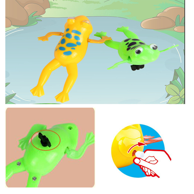 1pcs Baby Bath Toys Wind-Up Swimming Frog Hand Operated Cute Bathroom Shower Toy Swim Frogs Kids Gift