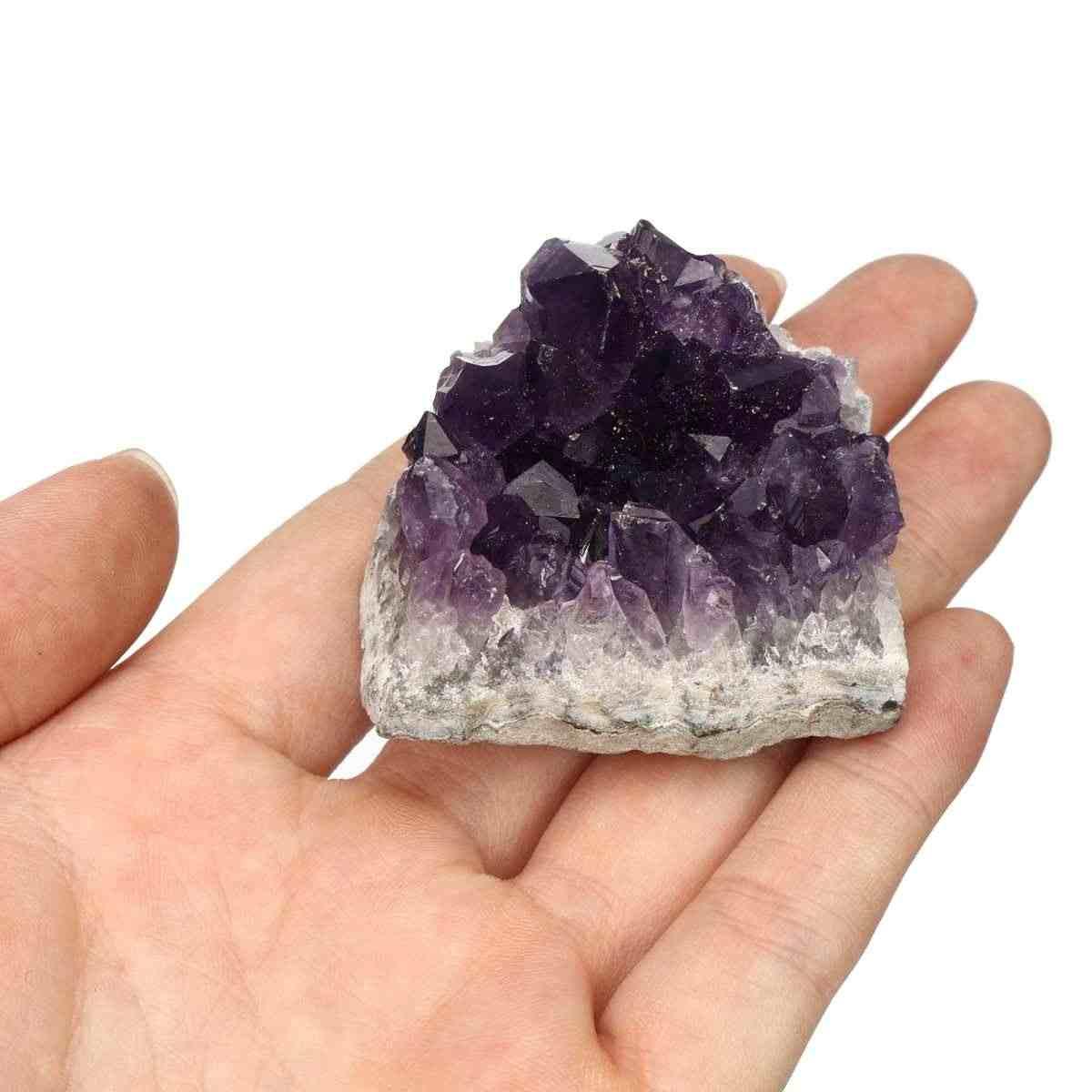 1Pc 40-60g naturalny kryształ ametyst kwarcowy Drusy Geode klastra kamień leczniczy Home ornament dekoracyjny fioletowy Feng Shui kamień