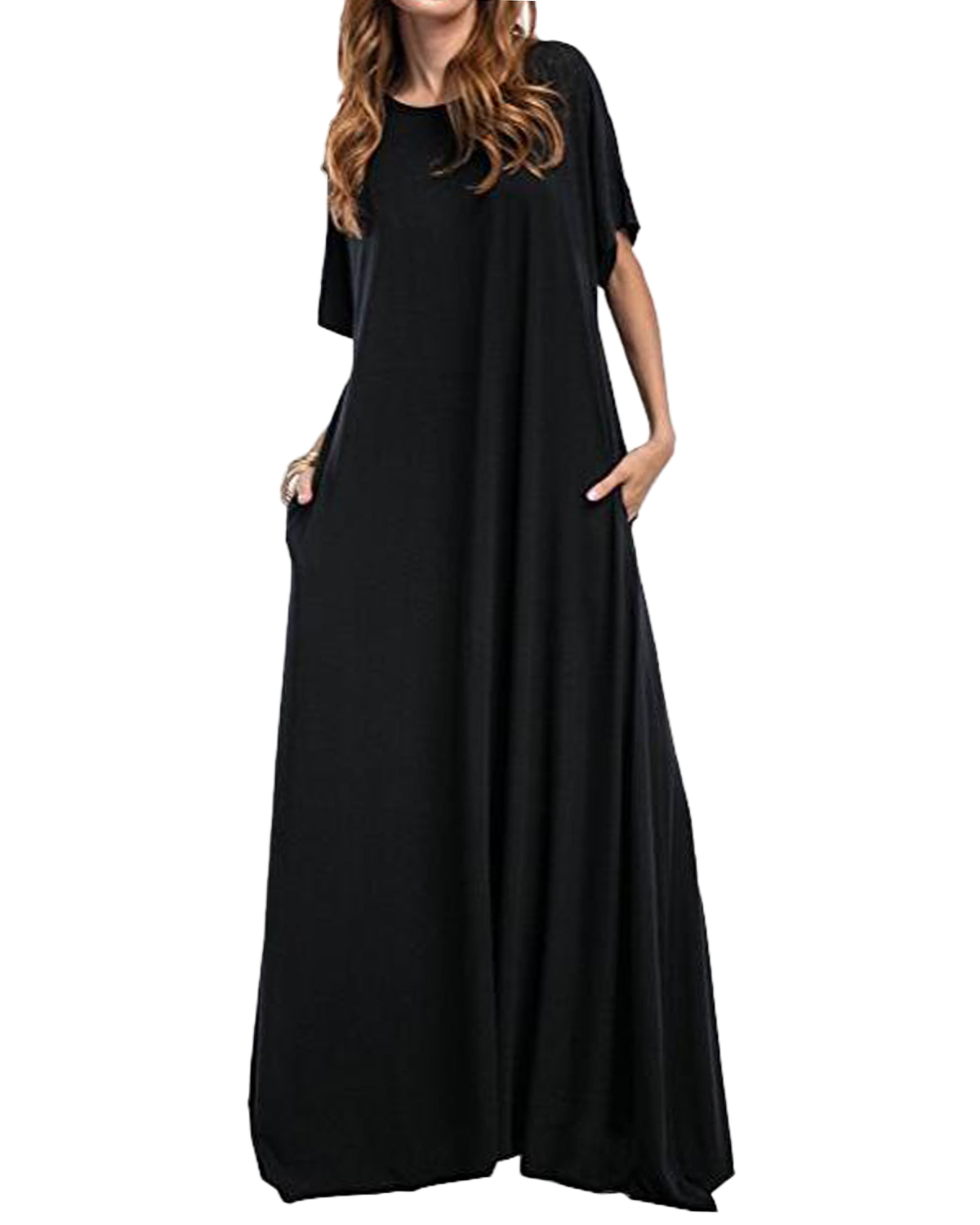 Women Long <font><b>Maxi</b></font> Dress ZANZEA 2019 Half Sleeve Solid Round Neck <font><b>Vintage</b></font> Casual Loose Long Elegant Robe Bodycon <font><b>Vestidos</b></font> Plus Size image