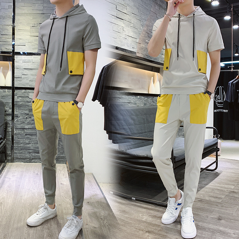 men Suit 2019 New Pattern Fashion Short Sleeve track Male T Pity Student Movement Trend tracksuit streetwear gym Free shipping in Men 39 s Sets from Men 39 s Clothing