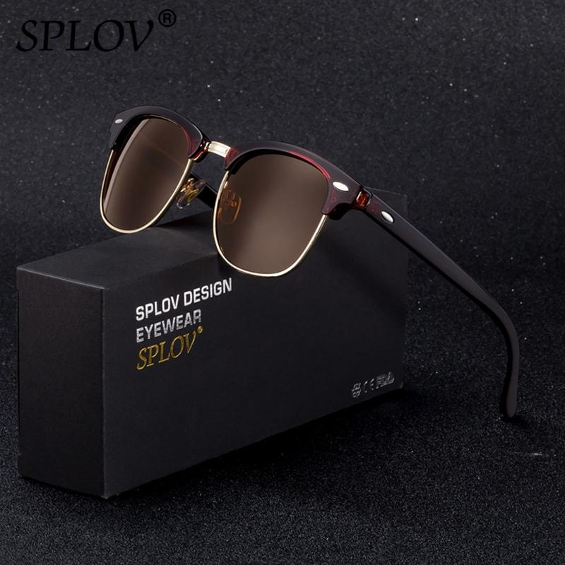 SPLOV Semi Rimless Polarized Sunglasses Men Women Vintage Metal Sun Glasses Classic Half Frame Driving Eyewear Oculos De Sol