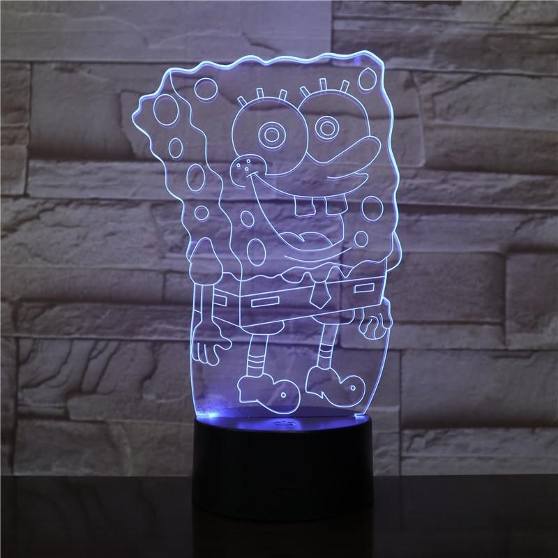 Free Shipping 1 Piece 7 Color Changing USB Charge 3D SpongeBob Squarepants Acrylic LED Night Light Luminous Table Lamp Gift 2301