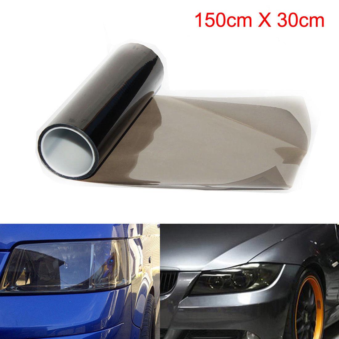 30x150cm preto escuro matiz filme nevoeiro luzes da cauda faróis matiz carro van envoltório para luzes traseiras faróis auto lado adesivos