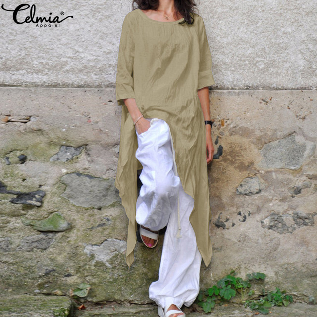 c0a9d05425b Celmia Plus Size Shirts Summer Loose Women Linen Blouse Half Sleeve Casual  Asymmetrical Tunic Tops Baggy