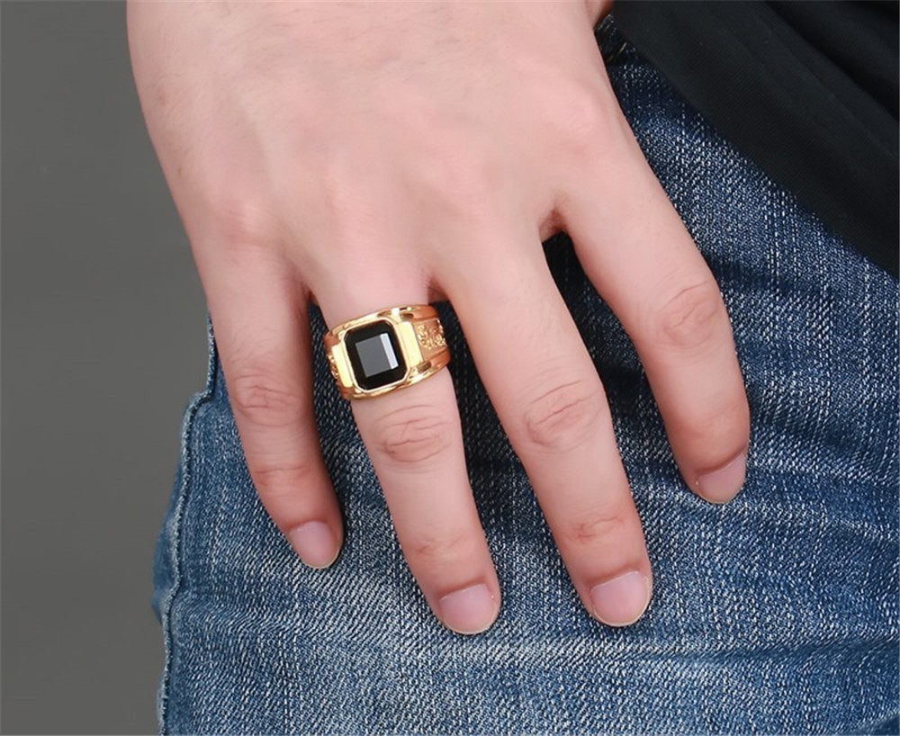 MINCN signet Square Black Carnelian Semi-Precious Stone Signet Ring in Gold Tone Stainless Stel for Male Jewelry punk Accesories