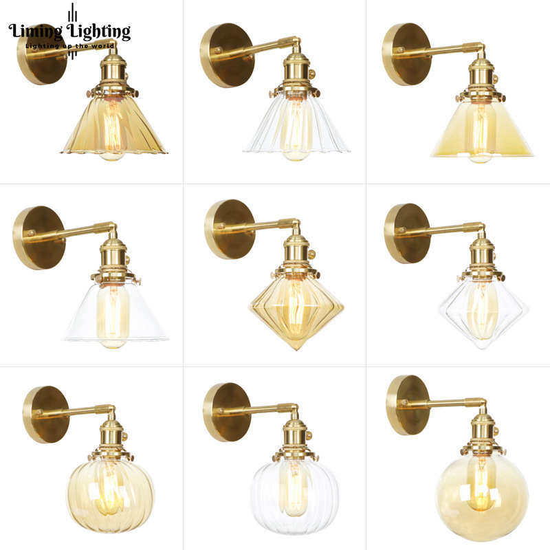 Modern Brass Loft Decor Nordic Copper Vintage Glass Stairs Led Wall Light Lamp Bathroom For Home Living Room Bedroom Wall Sconce
