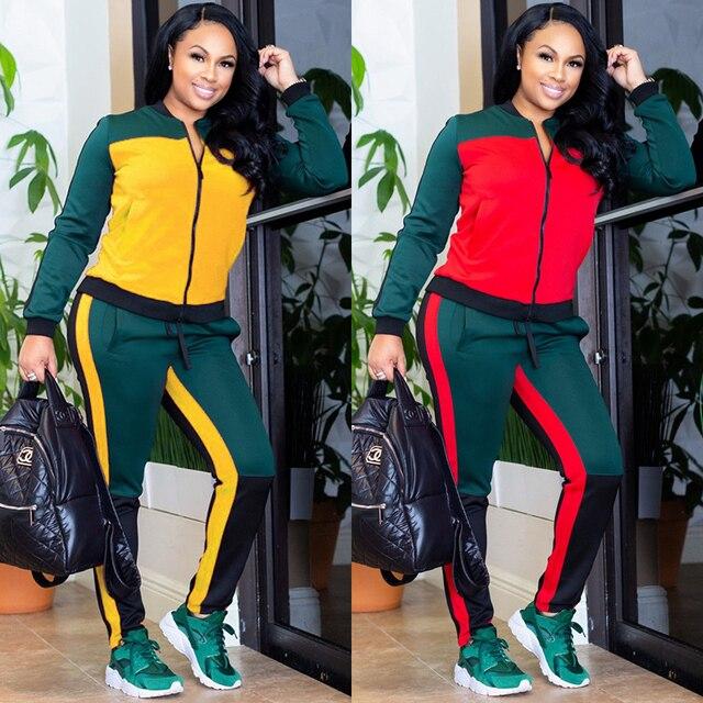 1721baea6c38 2 TWO PIECE SET CONTRAST Color Women Trendy Tracksuit Pants Sweat Suit  Winter Outfits Leisure Sweatsuits Plus Size Fashionnova