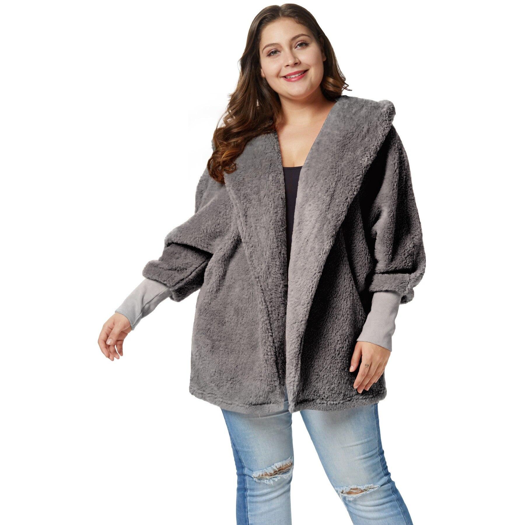Plusee Teddy Coat Women Best Selling Plus Size Lantern Sleeve Stylish Winter Warm Plush Soft Loose Hooded Basic Casual Overcoat
