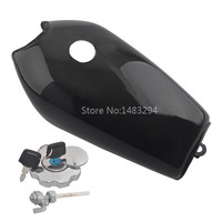 Motorcycle Black Cafe Racer Retro Fuel Gas Tank w/Tap+Keys+Cap Switch Steel Fits For Hon da CG125 AA001