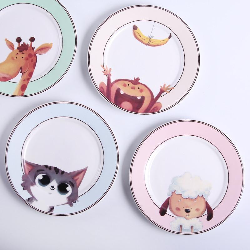 Cartoon Animal Ceramic Dish Creative Western Food Plate Household Fruit Cute Children Tableware
