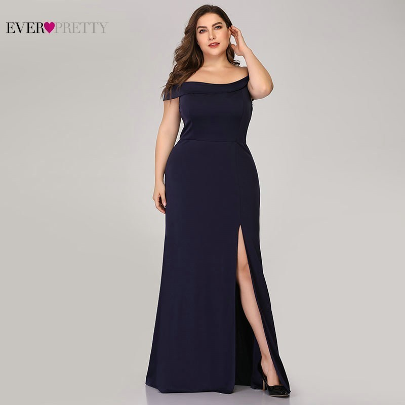 Image 2 - Plus Size Mermaid Prom Dresses Ever Pretty High Split Boat Neck Off the Shoulder Sexy Navy Blue Long Prom Dresses for Party 2019-in Prom Dresses from Weddings & Events