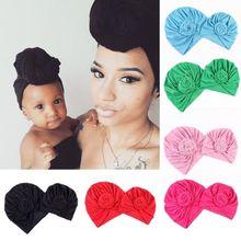 2Pcs Knot Turban Indian Hat Mother Girls Kids Turban Headban