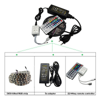 RGB LED Strip set 5 meters DC12V IP20/IP65 Waterproof SMD5050 60 LED/M 24/44key IR Remoter Controller with 12v 5a adapter