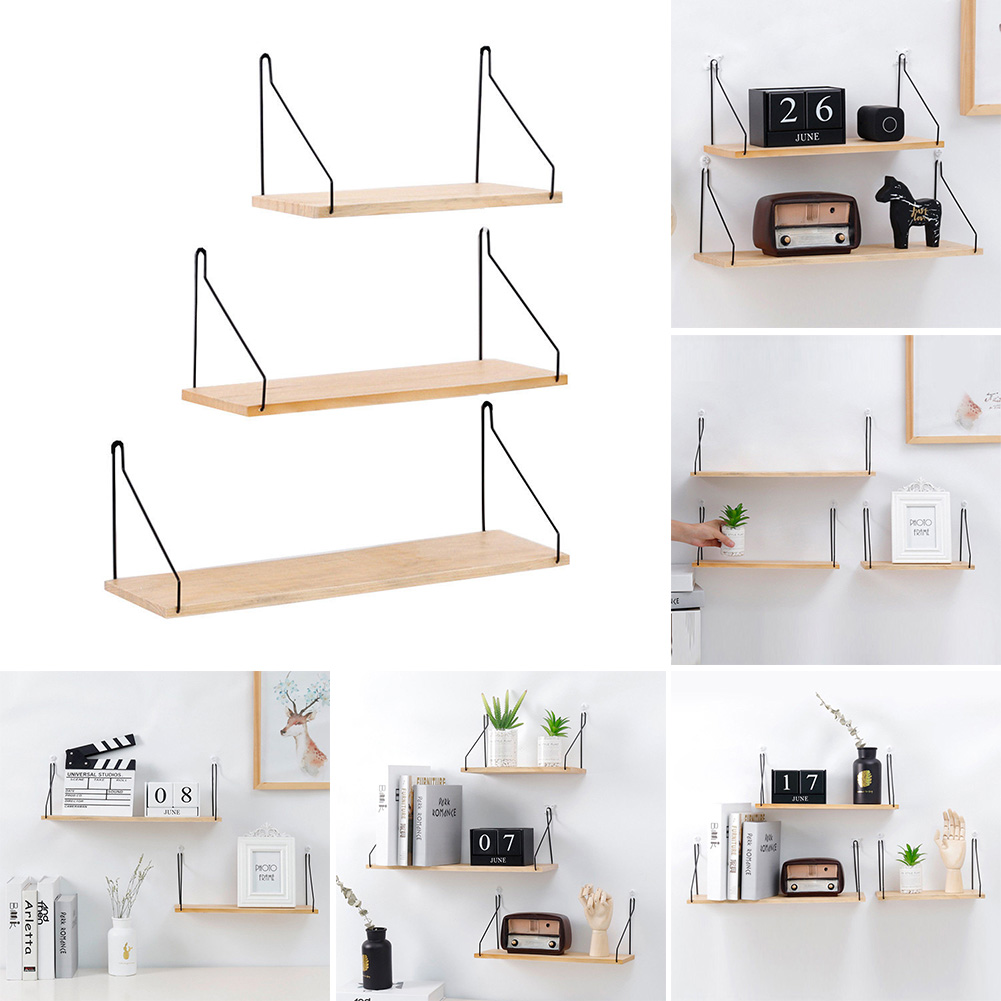Us 8 18 35 Off Nordic Style Wood Wall Storage Shelf Hanging Rack Container Bookshelf Diy Decoration Display Stand For Children Room Kids In