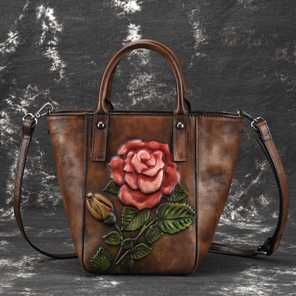 High Quality Genuine Leather Women Messenger Shoulder Bags Floral Tote Embossing Shopping Handbag Real Cowhide Top
