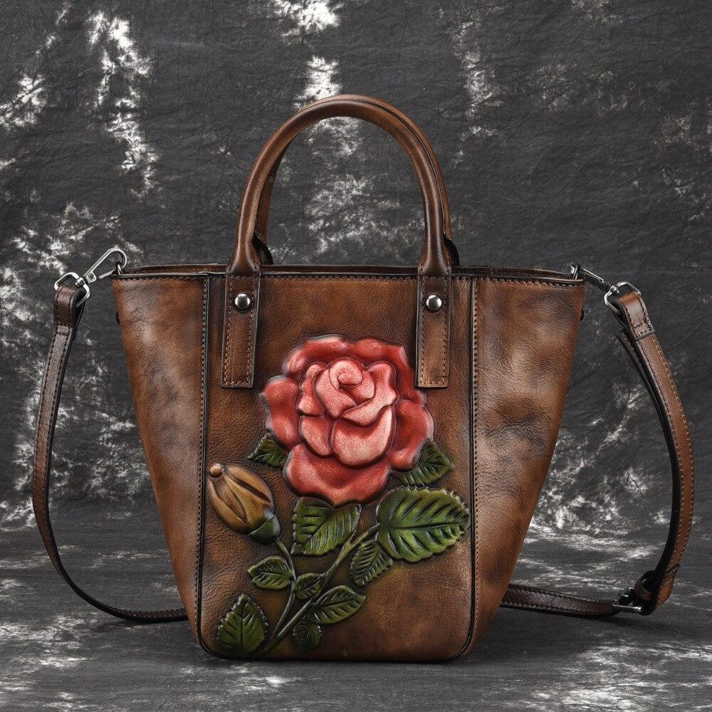 De alta calidad de cuero genuino de las mujeres del hombro del mensajero bolsas bolso Floral en relieve bolso de piel de vaca Real bolsa-in Bolsos de hombro from Maletas y bolsas    1